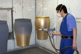 Powder coating pots