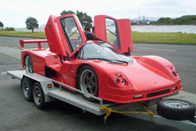 Saker sports car powder coated