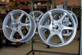 Silver wheels powder coated