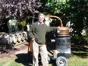 Hugh Steadman with the still Alouette