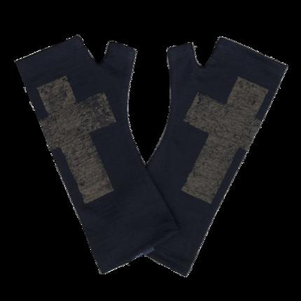 Kate Watts - Black Fingerless Gloves with Bronze Cross