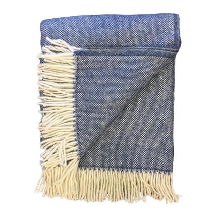 Lambs Wool Blanket - Blue Basket Weave