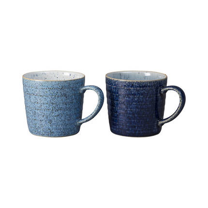 Studio Blue Ridged Mugs - Pair