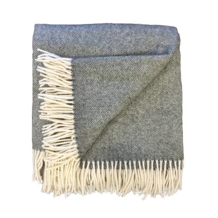 Lambs Wool Blanket - Charcoal Herringbone Weave