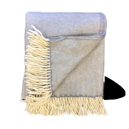 Lambs Wool Blanket - Grey Basket Weave