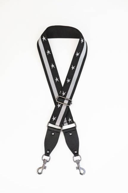 Bag Strap - Black and White Star Stripe