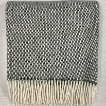 Lambswool Blanket - Charcoal Basket Weave