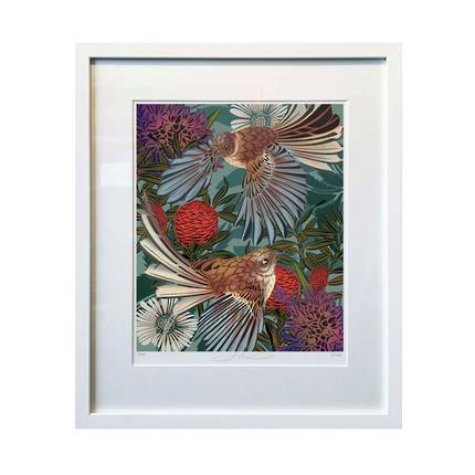 Flox Limited Edition Flying Fantails A4 Framed Print