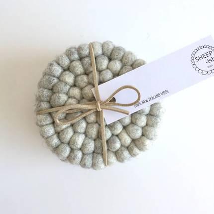 Felt Ball Coasters (Set of 4) - Grey Marle