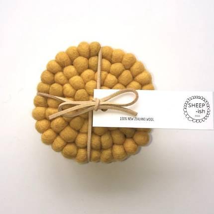 Felt Ball Coasters (Set of 4) - Mustard