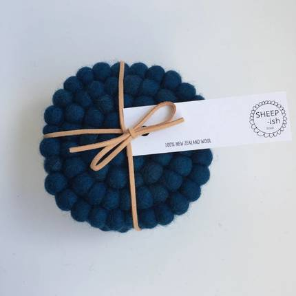 Felt Ball Coasters (Set of 4) - Peacock Blue