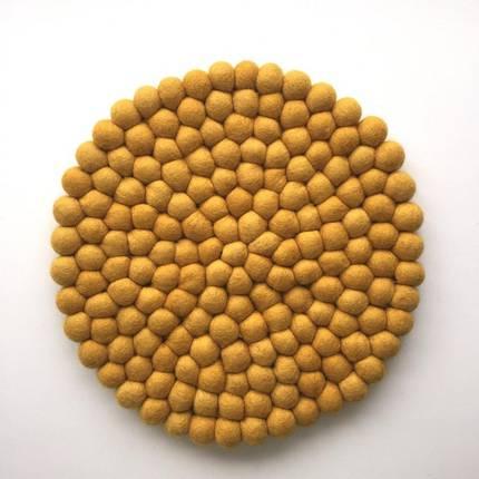Felt Ball Pot Stand (Placemat) - Mustard