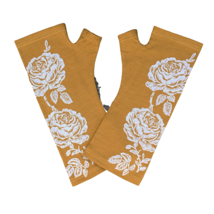 Kate Watts - Mustard Fingerless Gloves with Silver Roses