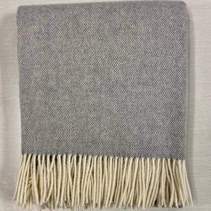 Lambs Wool Blanket - Grey Herringbone