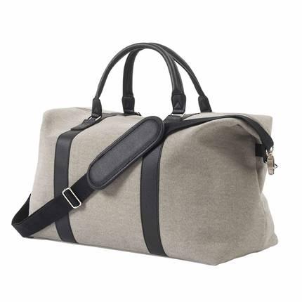 Canvas Weekender Bag in Light Grey