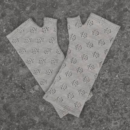 Kate Watts - Grey Lacey Knitted Fingerless Merino Gloves