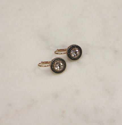 Round Fume Crystal Earrings