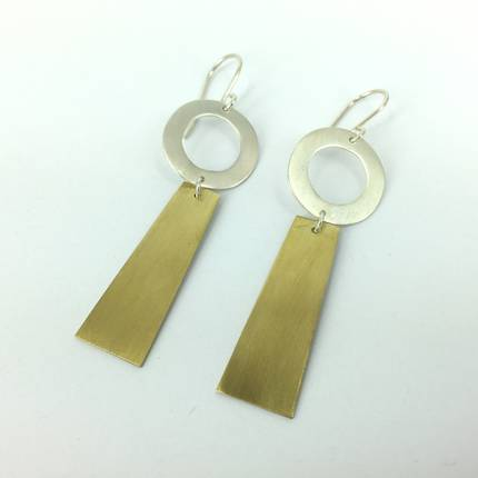 Rooby Brass and Silver Earrings