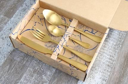qTableware Matte Yellow Gold Cutlery Set - 24 Piece