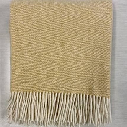 Lambs Wool Blanket - Mustard Herringbone Weave