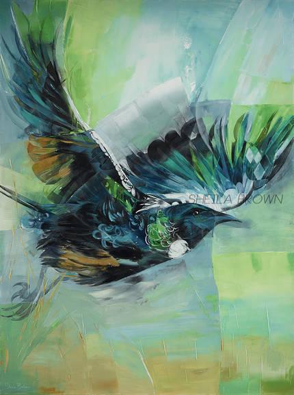 Shelia Brown Art - Tui Taking Off