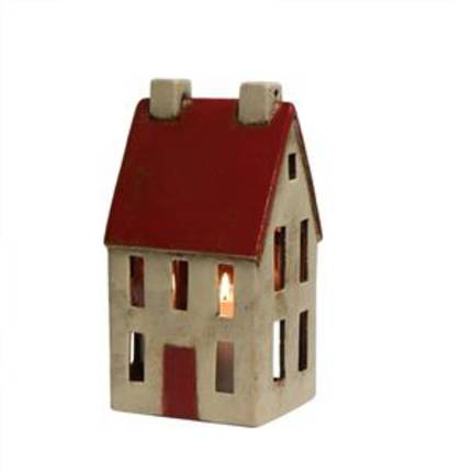 French Country - Tall Red and White Tea Light House