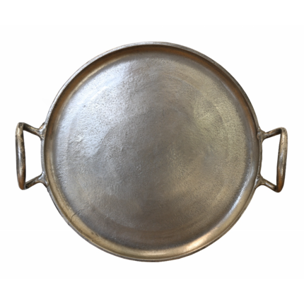 Round Tray with Nickel Antique Finish