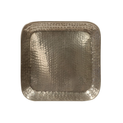 Brass Square Tray with Antique Silver Finish