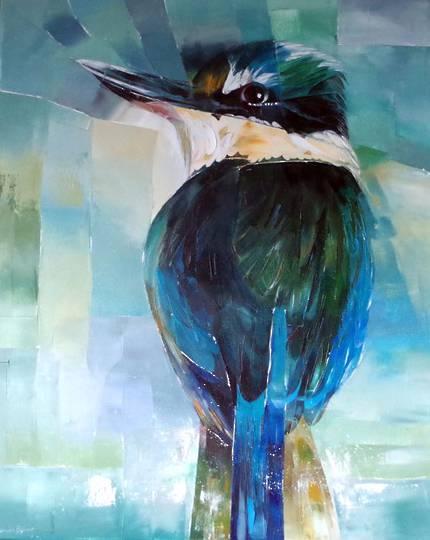 Sheila Brown Art - Kingfisher Looking Back