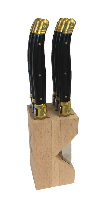 Verdier Steak Knife block - black/brass