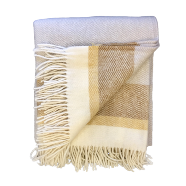 Lambs Wool Blanket - Yellow Stripe Basket Weave