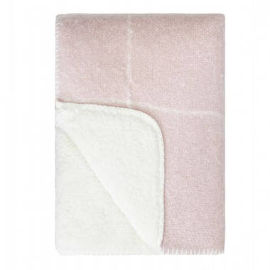 Grid Sherpa Throw - Rose Smoke