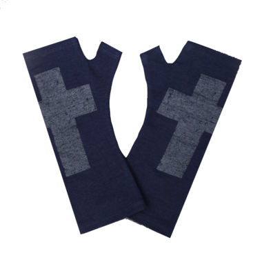 Kate Watts - Navy Fingerless Gloves with Silver Cross