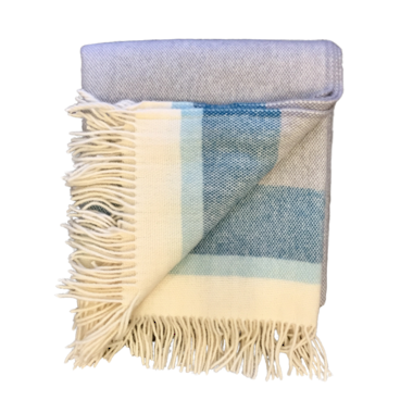 Lambs Wool Blanket - Blue Stripe Basket Weave