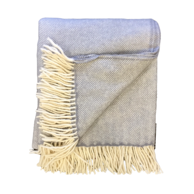 Lambs Wool Blanket - Grey Basket Weave
