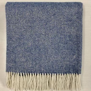 Lambs Wool Blanket in Blue Herringbone