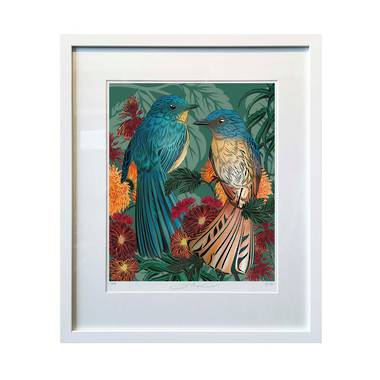 Flox Limited Edition Fantastical Fantails Large Framed Print