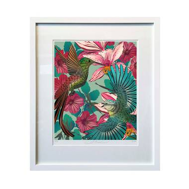 Flox Limited Edition Heavenly Hummingbirds A4 Framed Print