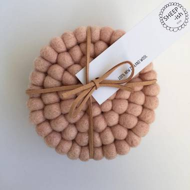 Felt Ball Coasters (Set of 4) - Blush