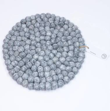 Felt Ball Pot Stand (Placemat) - Grey Marle