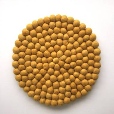 Felt Ball Pot Stand (Placemat) - Mustard