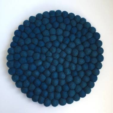 Felt Ball Pot Stand (Placemat) - Peacock Blue