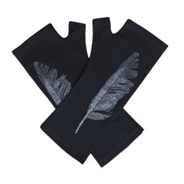Kate Watts - Black Fingerless Gloves with Silver Feather