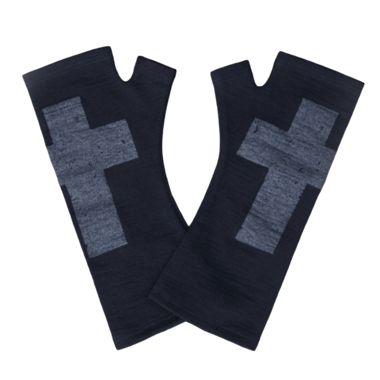 Kate Watts - Black Fingerless Gloves with Silver Cross