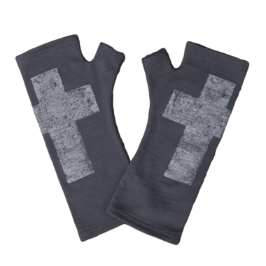 Kate Watts - Charcoal Fingerless Gloves with Silver Cross