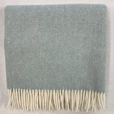Lambswool Blanket - Seagrass Herringbone