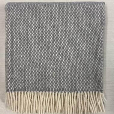 Lambswool Blanket - Grey Basket Weave