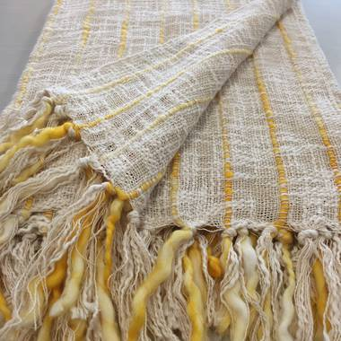 Cotton Stripe Throw - Yellow