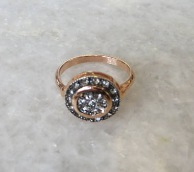 Crystal and Gold Round Ring
