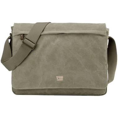 Classic Flap Front Messenger Bag  - Khaki